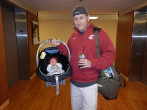 Daddy and Theo, ready to go home.