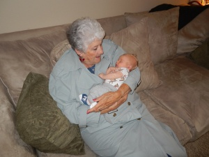 Theo and his great grandma.
