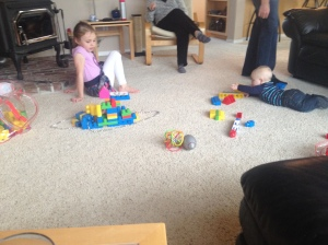 Playing Legos with cousin Molly.