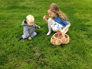 Easter egg hunting with cousin Molly.