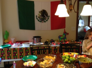 All set up for Theo's first birthday fiesta!