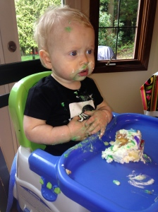 First taste of birthday cake!