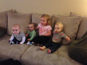 With buddies Cody, Declan and Ella.