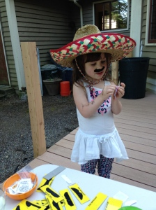 Kara rocking her sombrero and mustache.