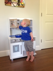 Loving his new kitchen!