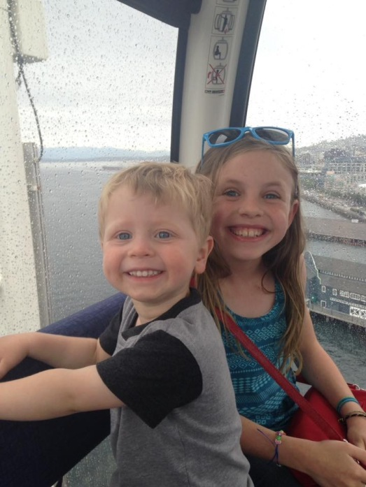 Here's a more natural smile - riding the Great Wheel with his cousin Molly.